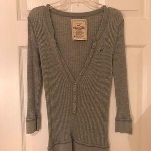 Hollister Knit Deep V Button Up Sweater