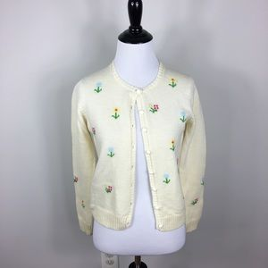 Vintage Embroidered Floral Sweater Cardigan XS