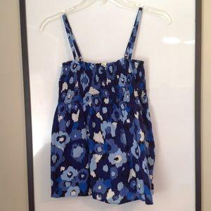Blue & White Elastic Summer Tank