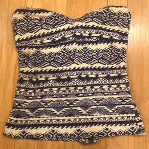 Sparkle and Fade Strapless Aztec tank