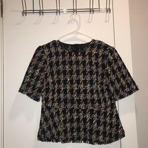 Zara Plaid Tweed Peplum Top