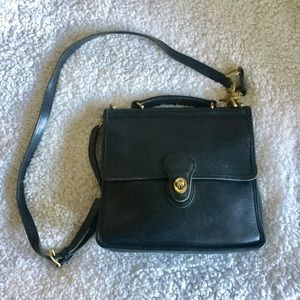 Coach Vintage Black Purse with Gold Accents
