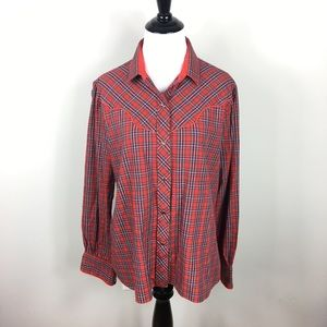 Vintage Western Plaid Snap Front Collared Shirt