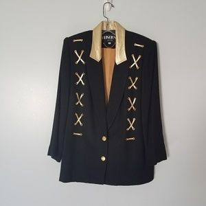 Vintage 80s Gold Lace Up Oversized Blazer