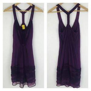 Catherine Melandrino Dress Purple 100% Silk Ruffle