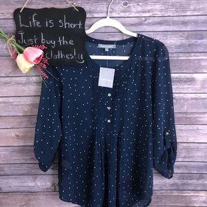 Stitchfix Daniel Rainn navy polka dot blouse