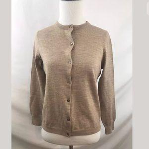J. Crew Merino Wool Cardigan Sweater in Tan