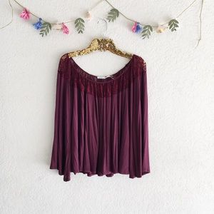 UO Kimchi Blue Maroon Lace Bell Sleeve Top