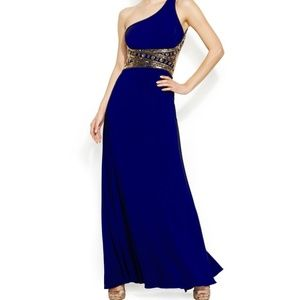 Betsy & Adam Royal Blue beaded One shoulder Dress
