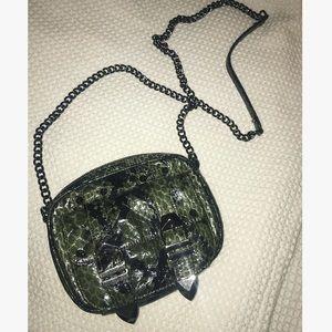 REBECCA MINKOFF dark green snakeskin crossbody