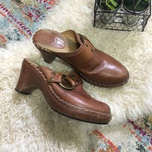 Frye leather mules clogs buckle damaged size 7M