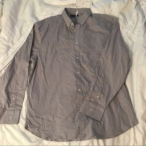 Five four men's collared gray long sleeve top