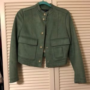 Suede ZARA crop jacket sea foam green