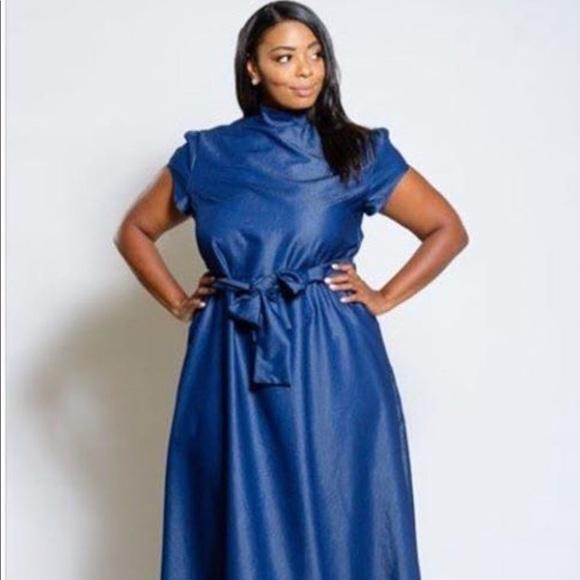 NWT blue denim maxi dress plus size fashion