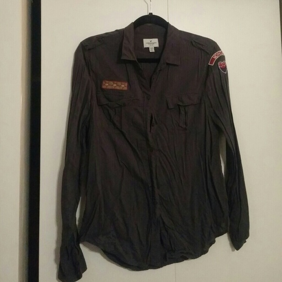 85542fba American Eagle Outfitters Tops | Military Inspired Button Up Shirt ...