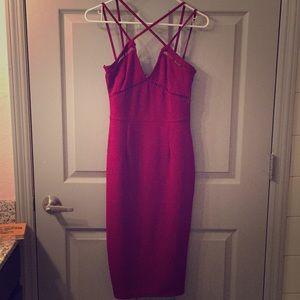Dark Red Missguided Midi Dress
