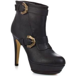 High heeled black booties BNIB