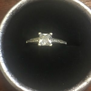 Princess Silver Square Rhinestone Ring