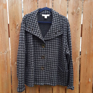 Wool Houndtooth Sweater Jacket