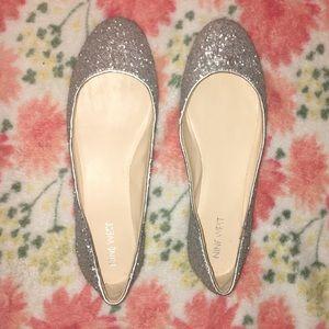 NWOT Nine West silver sparkly flats - Never worn!!