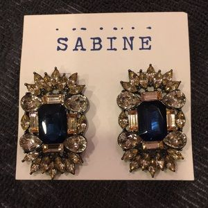 Blue and gold gemstone statement earrings