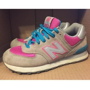 New Balance 574 Gray Pink Teal Womens 6