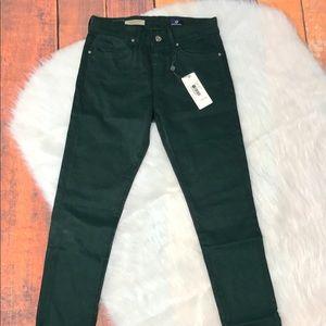 AG Farrah High Rise Green Skinny Jeans