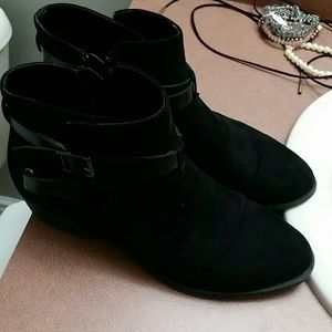 Carlos black booties with buckle