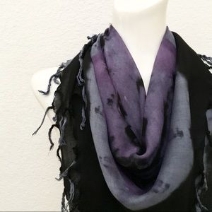 Square Scarf with Dyed Design, Finished in Fringe