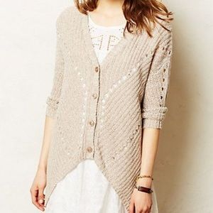 Anthropologie Moth brown theca high low cardigan