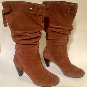 Suede Slouch Heeled Boots