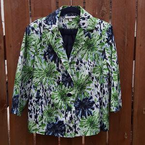 Dress Barn Green and Blue Patterned Blazer