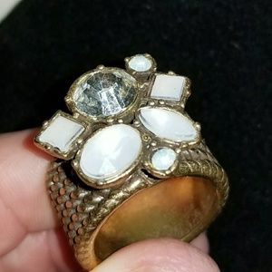 Vintage white resin and Crystal goldtone ring