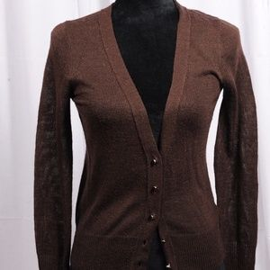 J.crew brown cardigan with jeweled buttons
