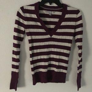 Purple and white striped knit shirt