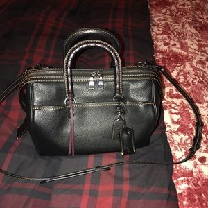 Coach rogue satchel with whip stitching