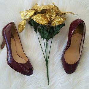 Cole Haan Nike Air Peep-toe Burgandy Patent Pumps
