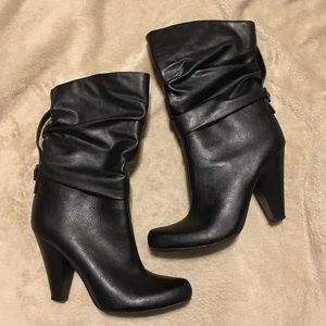 Leather Black Heeled Boots