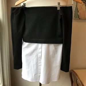 Zara Half Sweater/Half Shirt Top sz s