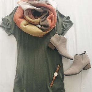 Olive Green T Shirt Dress