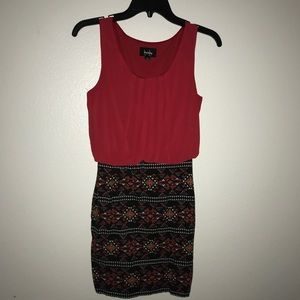 Red and tribal print bodycon dress