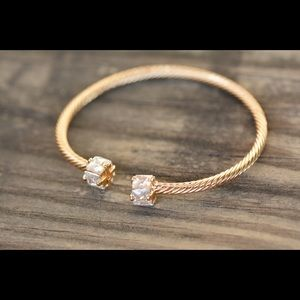18K Gold Plated Stylish Zircon AAA Women Open Cuff