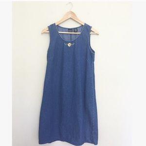 Vintage Denim Flower Embroidered Jumper Dress