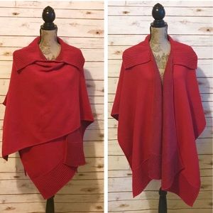 NORDSTROM Deep Red Wool Wrap Or Shawl