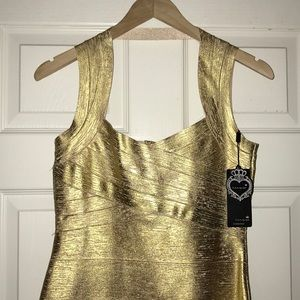 Gold body on dress