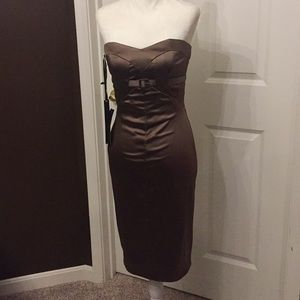 Bebe Shiny Taupe/Bronze Brown Cocktail Dress