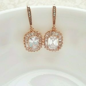 Rose Gold CZ Simulated diamond earrings
