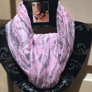 Never worn pink patterned scarf