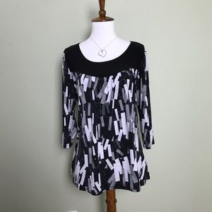 Dress Barn Black, White & Grey Long Sleeve Blouse