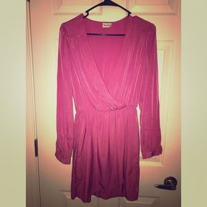 Hot Pink Long Sleeve Deep V Wrapped Dress
